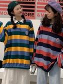 爆款熱銷Polo衫衛衣女潮秋裝年新款學院風彩色條紋POLO衫寬鬆bf長袖上衣聖誕節