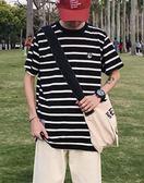 夏季港風情侶休閒貓咪刺繡條紋短袖T恤男士寬鬆海魂衫 艾尚旗艦店