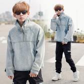 韓國製高磅大高領寬袖牛仔上衣【NB0717J】