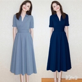 2020新款夏季適合肥胖mm遮肚子顯瘦法式洋裝子大碼女裝洋氣長裙 HX6386【易購3C館】