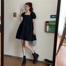 娃娃裙泡泡袖連身裙2020新款減齡寬鬆小個子法式方領黑色裙子女夏 潮人