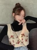 秋冬韓版新款泫雅風花朵刺繡洋氣減齡短款顯瘦針織背心女套裝 雅楓居