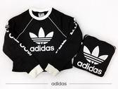 IMPACT Adidas Trefoil Sweatshirt 短版 大學T 長袖 黑 白 三葉草 字體 DH4714