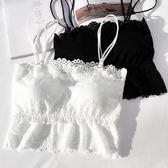 韓版防走光短款打底吊帶上衣內衣蕾絲花邊裹胸抹胸帶胸墊背心女士