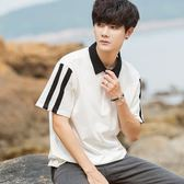 秋冬韓版寬鬆短袖T恤男襯衫領拼色五分袖t恤青少年學生潮