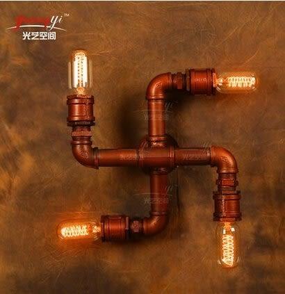 設計師美術精品館loft壁四頭水管燈複古工業燈咖啡館燈創意美式鄉村鐵藝 驅魔壁燈