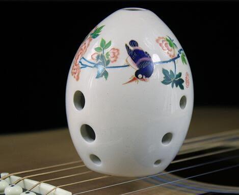 八孔白色瓷釉陶塤透明工藝塤送指法表KM2147『伊人雅舍』