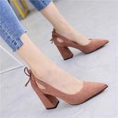 粉色英倫氣質絨面方根學院風粗跟高跟鞋34-39淺口單鞋四季鞋女 開學發燒必備