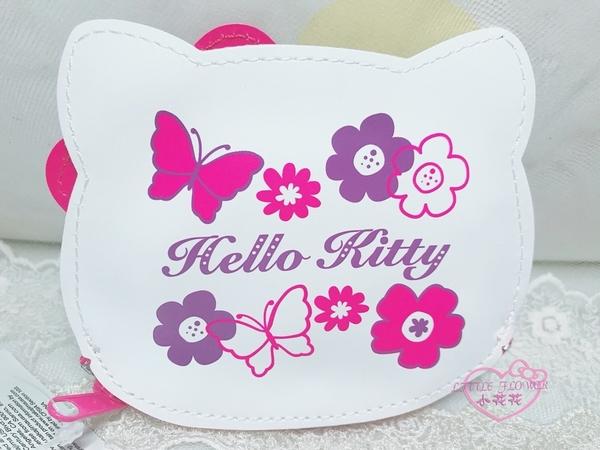 ♥小花花日本精品♥Hello Kitty經典大臉蝴蝶圖案皮革零錢包隨身收納小包輕便可愛好攜帶58801604