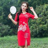 旗袍-短袖改良式中國風開岔修身女連身裙3色73oi8【時尚巴黎】