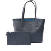 【MICHAEL KORS】防刮皮革拼色購物包/子母包(海軍藍/鋼藍)35F7SY2T3T  NVY/STL