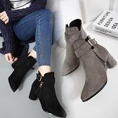 低筒短靴-經典大方復古金屬釦女馬丁靴2色73is17[時尚巴黎]