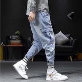 潮流時尚日韓街頭工裝口袋造型休閒牛仔束口長褲
