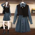 M-4XL大碼長袖牛仔洋裝~大碼女裝復古氣質顯瘦馬甲 牛仔連身裙兩件套4F049愛尚布衣