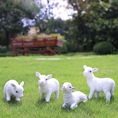 仿真羊裝飾擺件樹脂動物工藝品可愛生肖小羊戶外花園