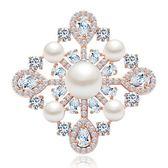 胸針 純銀鍍18K金珍珠-精美鑲鑽生日聖誕節禮物女胸章73cw18【時尚巴黎】