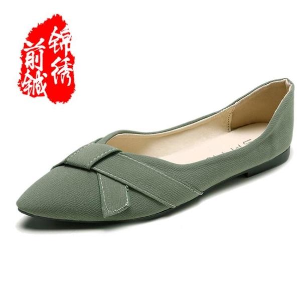 豆豆鞋女鞋新款秋鞋尖頭平底媽媽單鞋女淺口小皮鞋百搭樂福鞋