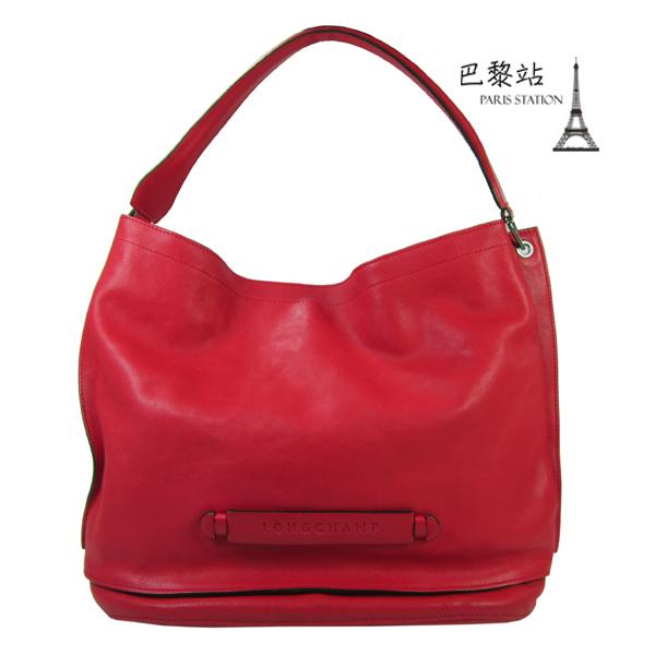【巴黎站二手名牌專賣店】*現貨*LONGCHAMP 真品*3D系列紅色牛皮大肩背包