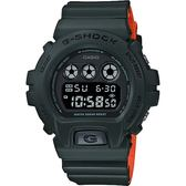 CASIO 卡西歐 G-SHOCK 霧面坦克手錶-墨綠x橘 DW-6900LU-3DR / DW-6900LU-3