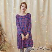【Tiara Tiara】激安 幾何煙花長袖洋裝(紅花)