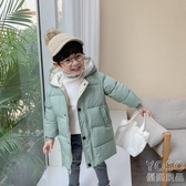 兒童羽絨服 反季兒童加厚保暖羽絨棉服寶寶中長款連帽棉襖男女童韓版外套冬 快速出貨
