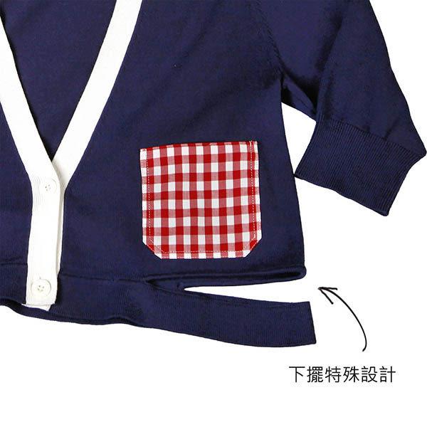 針織衫 摩達客 美國LA設計品牌【Suvnir】深藍紅格紋 針織衫 短版外套(11912082010)