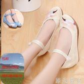 民族鞋 繡花鞋女年古風鞋子女漢服鞋民族風內增高牛筋底高跟婚鞋 綠光森林