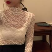 2020新款網紗內搭蕾絲衫長袖防曬衫緊身蕾絲打底衫女薄款白色上衣 雙11 伊蘿