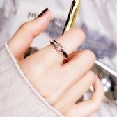雙12鉅惠 韓國黑白貝殼戒指女簡約日韓潮人個性食指環
