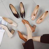 復古方頭高跟鞋粗跟淺口套腳單鞋百搭工作ol女鞋   可然精品鞋櫃