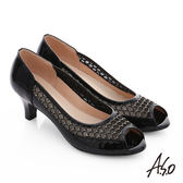 A.S.O 星光注目 全真皮璀璨拼接網布魚口跟鞋  黑
