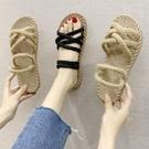 涼鞋女夏季新款韓版學生百搭平底兩穿拖鞋仙女風沙灘鞋