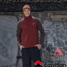 【EasyMain 衣力美 男款 輕暖排汗休閒衫《暗磚紅》】SE16063/高透氣/立領設計/保暖柔軟