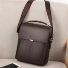 韓版男包包男士側背包斜背包商務休閒皮包豎款小手提包潮背包掛包 黛尼時尚精品
