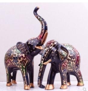 16寸七彩招財風水象一對 大象擺件銅器 巴基斯坦工藝品 銅象1入