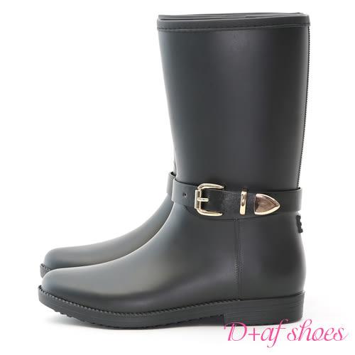 雨靴 D+AF 質感品味.金色釦環2way中筒雨靴*黑