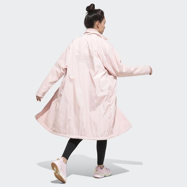 【現貨】ADIDAS ORIGINALS 女裝 外套 長版 雙面 寬鬆 羊羔絨 粉【運動世界】GK8557