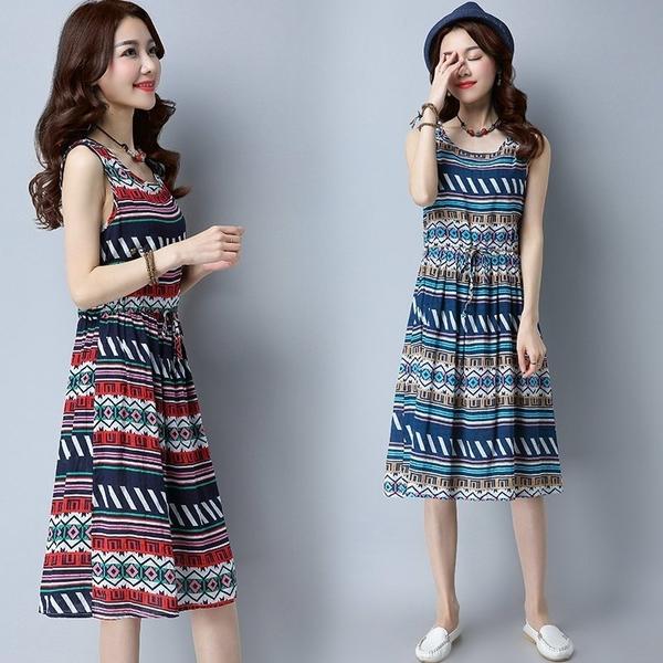 FINDSENSE G5 韓國時尚 夏季 新款 棉麻背心裙 寬鬆 中長款 條紋