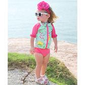 RuffleButts 無袖泳衣套裝 防曬泳裝+小可愛+泳褲三件組粉 兒童【RURGSWH】