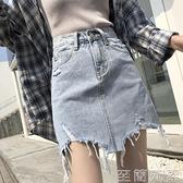 新款高腰牛仔短裙女夏季a字包臀半身裙破洞毛邊ins超火裙子潮 至簡元素