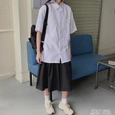 2021年春夏新款襯衫女日系學生學院風寬鬆百搭短袖白色襯衣jk班服 poly girl