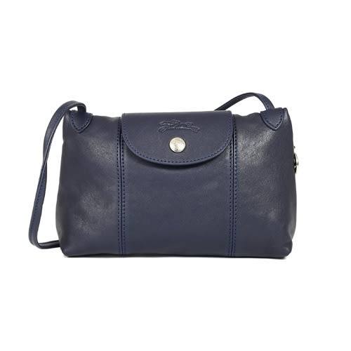 Longchamp Le Pliage Cuir 小羊皮斜背包(海軍藍)
