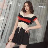 套裝女夏2018新款甜美氣質V領拼色抽繩針織衫 高腰A字百褶裙短裙