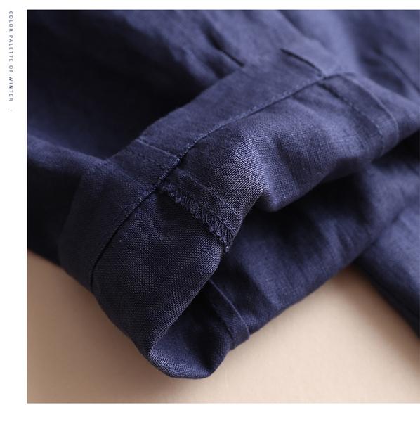 韓版棉麻九分褲女夏褲麻料大碼寬鬆薄款鬆緊腰亞麻闊腿休閒哈倫褲