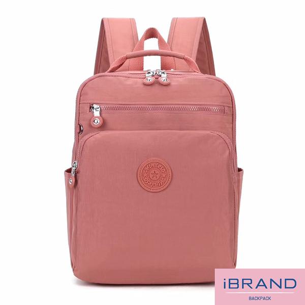 【i Brand】輕盈防潑水素色雙拉鍊尼龍後背包-豆沙粉 MDS-8612-豆沙