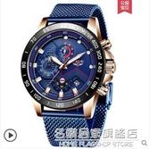 德國利格品牌手錶男士不銹鋼網帶石英腕錶夜光防水時尚學生手錶【名購新品】