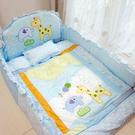 GMP BABY 寢具組-長頸鹿加厚七件組-藍