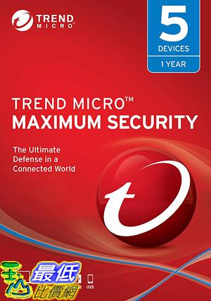 [8美國直購] 暢銷軟體 Trend Micro Maximum Security 2019, 5 User [Key Code] 2019