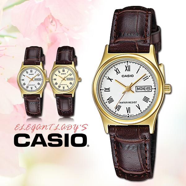 CASIO 手錶專賣店 卡西歐手錶 LTP-V006GL-7B  女錶 指針錶 白 金 防水 皮革錶帶