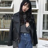 冬季韓版冬裝長袖百搭機車短款皮衣拉?翻領上衣女學生通勤短外套